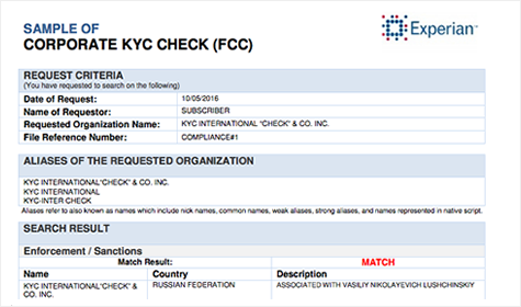 CORPORATE KYC CHECK (FCC)
